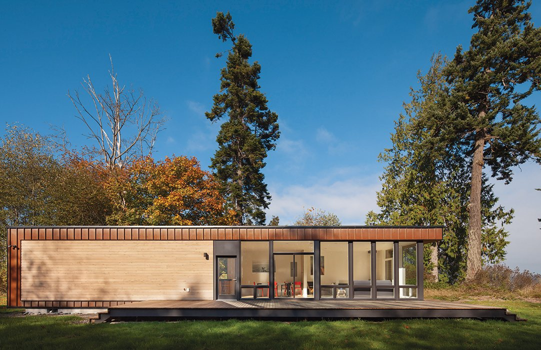 "Architect Chris Pardo designed the Element 1 model for prefab builder Method Homes, cladding it in Cor-Ten steel and cedar. Pardo's design ""is the definition of simple, elegant, straightforward building,"" resident Karen Kiest says."