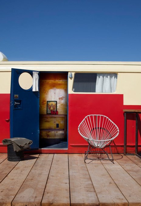 This stylized vintage trailer is the image of small-scale luxury. Tagged: Exterior, Camper Building Type, and Metal Siding Material.  Photo 9 of 9 in Hotels We Love: El Cosmico Hotel in Marfa, Texas