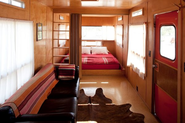 By reducing the bedroom to its essentials and filling it with windows, the El Cosmico staff has made this small space as expansive as the desert beyond.