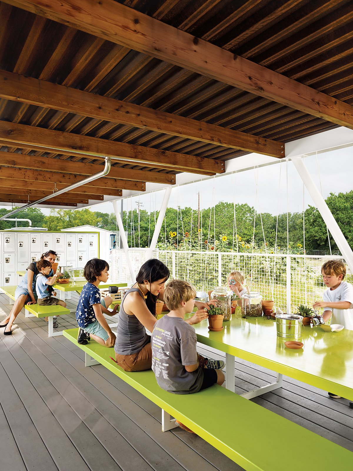 Architect Burton Baldridge donated his services to Casis Elementary—his daughter's large public school in Austin, Texas—to design and build an outdoor classroom that would augment an organic gardening program.  Photo 2 of 11 in 11 Innovative and Modern Schools Where Creativity and Good Design Rule from Austin's Casis Elementary School Teaching Garden