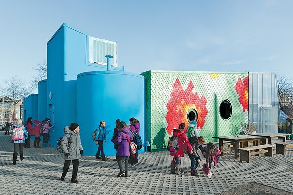 WORKac designed a teaching classroom at Brooklyn's P.S. 216 elementary school that channels runoff rainwater from its roof for reuse in its mobile greenhouse.