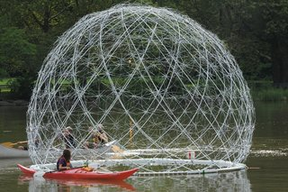 The firm and its team of volunteers fabricated the Buckminster Fuller–esque dome out of 450 recycled umbrellas.
