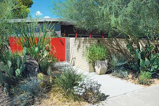 """20 Desert Homes - Photo 22 of 23 - Southwest: Steve Martino <br><br>Phoenix-based landscape architect Steve Martino has unlocked the secret to successful gardening in dry desert environs: """"The backbone of my career has been celebrating the desert rather than making apologies for it,"""" he says. His drought-tolerant designs relate to the southwestern climate and feature native plants—like the whale's tongue agave, compass barrel cactus, and ocotillo in front of a Scottsdale midcentury house."""