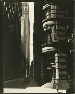 Berenice Abbott. Cedar Street from William Street, Manhattan, March 26, 1936. Gelatin silver print; printed c.1936
