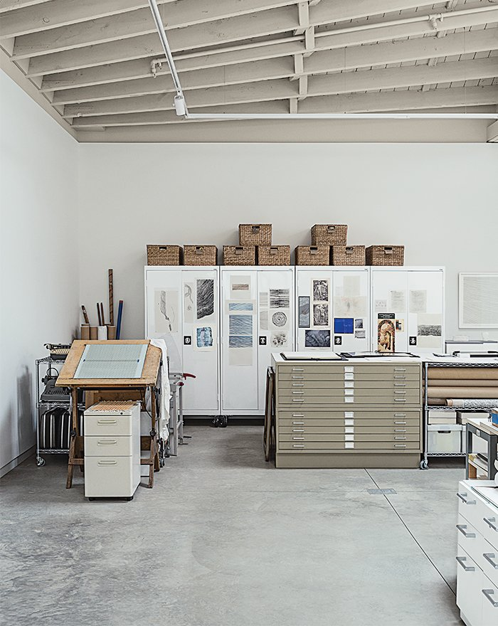 Rolling cabinets by Sandusky proved a handy storage solution in Hutchins's studio.