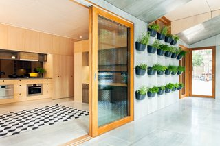 """There are two zones in the house. One side, which the architects refer to as the """"buffer zone,"""" faces north, capturing the sunlight in the winter and pulling it into the house. In the summer, it traps the harsh sun so less gets into the living space. Edible planters adorn the wall."""