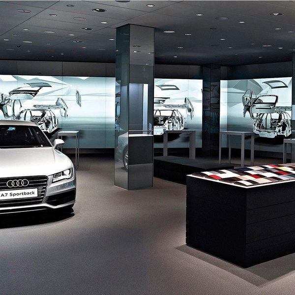 Designit's Audi City model reimagines the auto showroom for a new generation of city dwellers. The brand's model range is rendered digitally, a space-saving move that allows the compact showrooms to double as a meeting room or exhbition space during off hours, or simply as a place for Audi fans to interact with the brand. After the first Audi City opened in London in 2012, Audi opened its second Audi City showroom in Beijing in 2013. Image courtesy of Designit.
