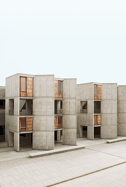 Louis Kahn's Salk Institute is a stunning building that looks directly out to the sea. Architectural tourists flock to the site, which still functions as a working laboratory.