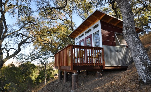 When homeowners of an off-the-grid property in the Bay Area needed to add a home office, they added a custom deck to their Studio Shed to take advantage of the landscape.