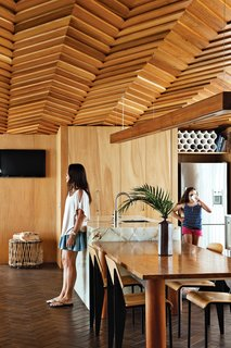 House of the Week: Striking Wooden Ceiling in New Zealand - Photo 1 of 3 - The kitchen, featuring a herringbone ceiling pattern.