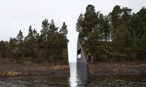 1. July 22 Memorial (Hole and Oslo, Norway): Designed by Jonas Dahlberg<br><br>Visitors to Hole will walk across a forested peninsula before encountering Dahlberg's design; the names of the victims will be etched in stone across from the viewing area, out of reach. Photo courtesy of Jonas Dahlberg Studio and KORO/ Public Art Norway.