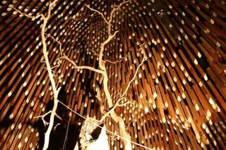 8. Memorial for Tree of Knowledge (Barcaldine, Australia); Designed by m3architecture and Brian Hooper Architects<br><br>Commemorating the site where Australia's Labour party was born in 1891, this intriguing monument creates a spatial disconnect between a dead tree, its roots housed in a glass case, and a canopy of timber slats, creating an empty space where the healthy tree's branches once spread.