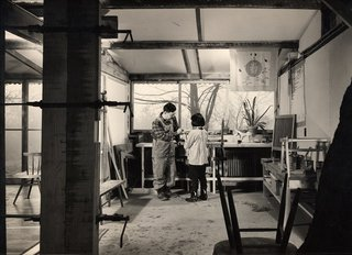 Design Icon: George Nakashima - Photo 7 of 10 - George Nakashima with his daughter Mira in his workshop