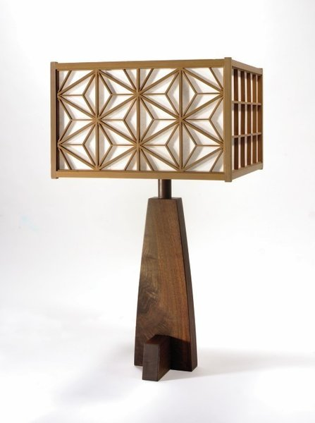 Asa-No-Ha Lamp<br><br>These intricately patterned lamps were created to illuminate his work at a show overseas. Some of these reside in the Rockefeller's mansion. Photo courtesy George Nakashima Woodworker, S.A.