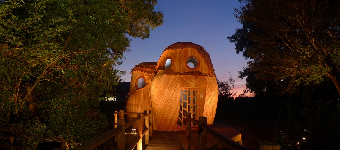 "This towering, owl-shaped wooden structure is called ""les guetteurs"" (watchman).  Photo 4 of 8 in Tiny Vacation Shelters in the French Countryside"