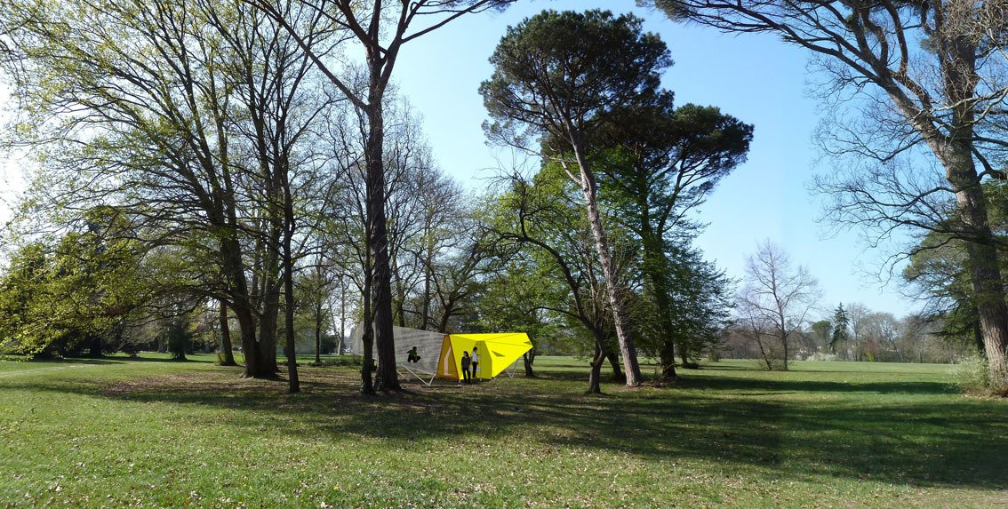 "The Bluth family didn't see this coming: ""Le Hamac"" concieved by Bruit du Frigo is a kind of huge, half-covered outdoor ""banana.""  Photo 8 of 8 in Tiny Vacation Shelters in the French Countryside"