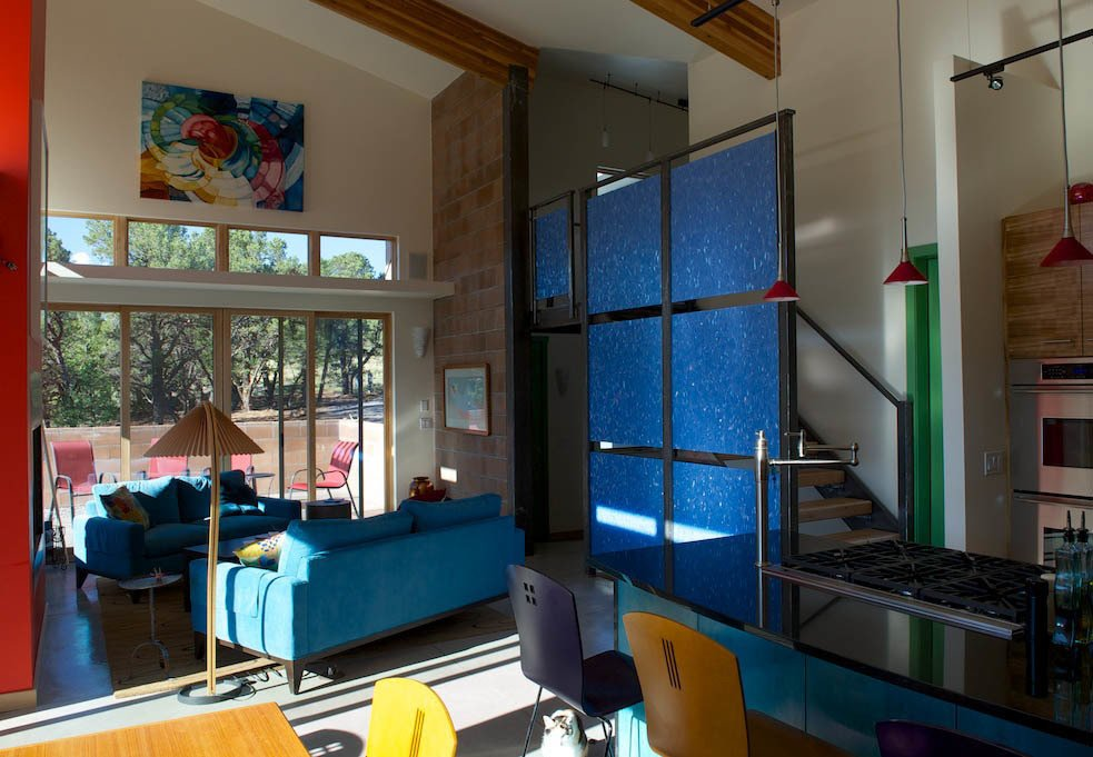 The great room of Barry Doyle and Eve Becker-Doyle's home outside Ridgway, Colorado. Photo by Barry B. Doyle. Modern Homes in Colorado by Luke Hopping