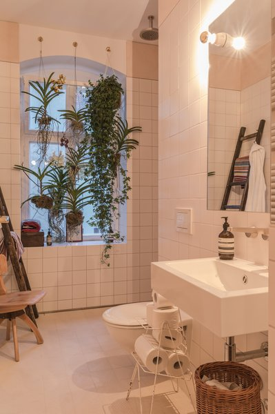 Bathroom of the Freunde von Freunden X Vitra ApartmentHanging plants and an open shower accentuate the bathroom's light, airy layout. Sink by Alape, shower and fixtures by Dallmer and Dornbracht.Photo by Steve Herud