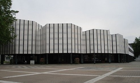 Wolfsburg Cultural Center (Wolfsburg, Germany: 1962)   Wrapped in white and blue Carrarra marble, this public center has been called one of Aalto's most important works in Germany, boasting a roof terrace that plays off the idea of a public square.