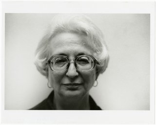 Lucio Pozzi, Portrait of Dorothy Vogel, 2001, black-and-white photograph. Bowdoin College Museum of Art, Brunswick, Maine, Dorothy and Herbert Vogel Collection Vogel Collection. © Pozzi 2001