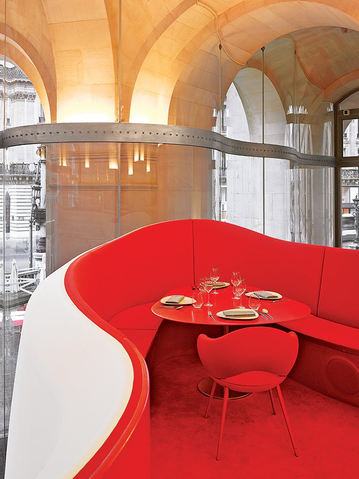 Architect Odile Decq's array of projects includes the Phantom restaurant, located inside the Palais Garnier, built in 1875 to house the Paris Opera.  Hospitality Favorites by Allie Weiss from French Architect Odile Decq Designs Captivating Museums, Yachts, and Fruit Bowls