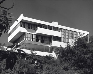 Julius Shulman: 10/10/10 - Photo 1 of 6 - Completed in 1929, Neutra's Lovell Health house was the first steel-frame residence in the U.S., and was built using prefab elements (the home's framing went up in two days). Shulman shot the home, which Neutra included in the 1932 Museum of Modern Art Modern Architecture exhibition, on three occasions. © J. Paul Getty Trust. Used with permission. Julius Shulman Photography Archive, Research Library at the Getty Research Institute (2004.R.10)
