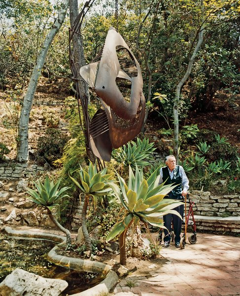 """No landscape architect would do this mishmash,"" says Shulman of his beloved garden. ""Behind my land is 53 acres, which now belong to the Santa Monica Conservancy, so it's protected,"" he says. ""My daughter's son will probably live here when he grows up—he's only 25 or 30 now."" Though the photographer uses a walker—dubbed ""the Mercedes""—to maintain his balance, he claims to have given up skiing and backpacking in the Sierras only a few years ago."