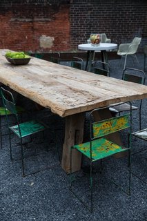 Custom reclaimed wood table in the outdoor area at American Street Showroom.
