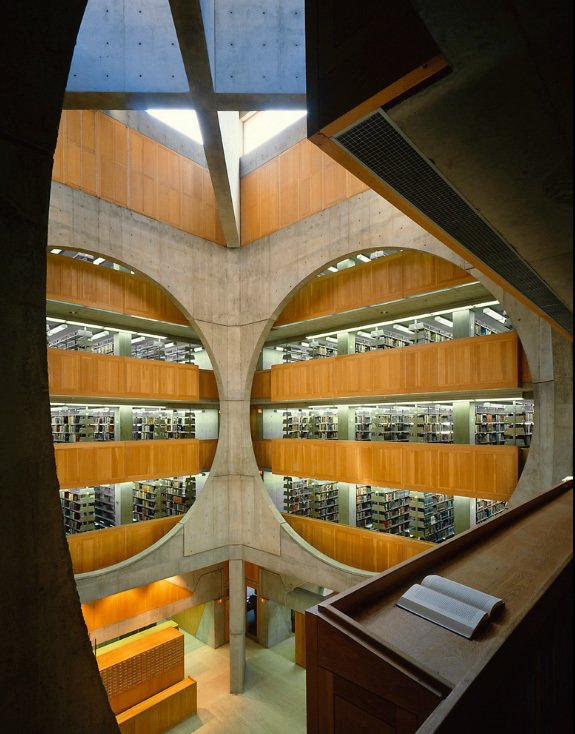 Grant Mudford, Phillips Exeter Academy Library by Louis Kahn.  buildings by pulltab from 'Grant Mudford: Building' at Woodbury University