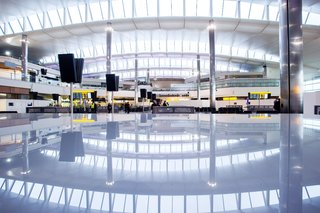 An interior view of the new Terminal 2 at Heathrow. Photo courtesy of Luis Vidal + Architects.