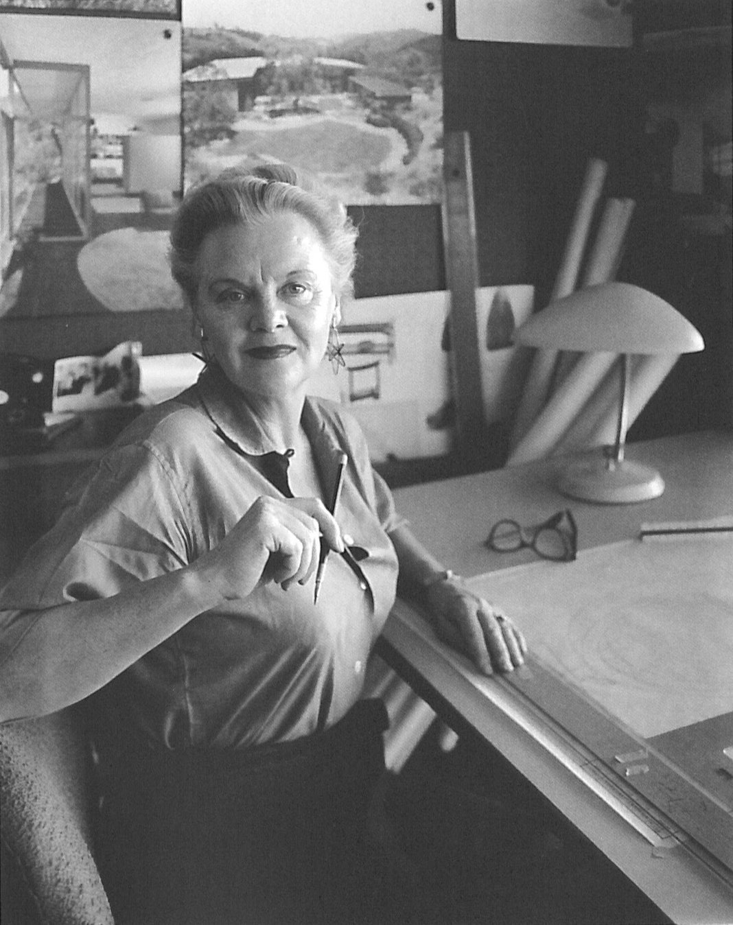 "Grossman made a name for herself in the male-dominated architecture scene in Los Angeles, saying working as a female architect ""kept you on your toes. You had to be a step ahead or else."" Grossman photographed by Julius Shulman in 1959.  Photo 8 of 8 in Design Icon: Greta Grossman"