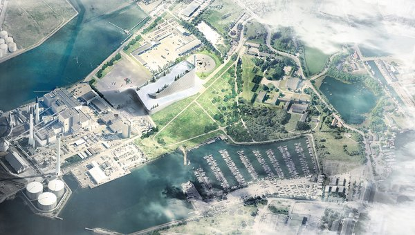 Topped with a ski slope, the Amager Bakke waste-to-energy plant will double as a tourist attraction when it opens in Copenhagen in 2017. Image courtesy of the Bjarke Ingels Group.