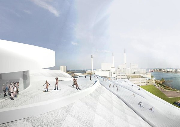 The ski pistes will be accessed via an elevator adjacent to the smokestack. The elevator will have a glass wall facing the interior of the plant, giving visitors a behind-the-scenes look at the energy production process. Image courtesy of the Bjarke Ingels Group.