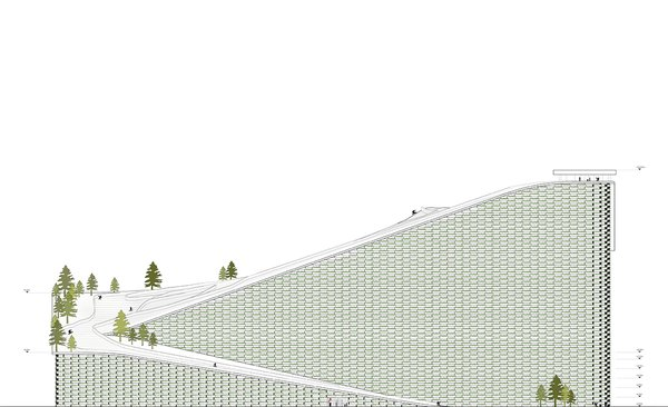 A rendering shows the plant from the side. The bricks on the facade will double as planters, adding a dash of green that makes the edifice resemble a snow-capped mountain. Image courtesy of the Bjarke Ingels Group.