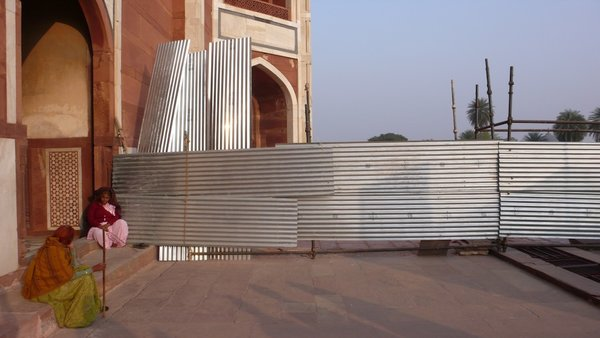 """Corrugated steel construction at Humayun's Tomb in Delhi. """"For me it's a positive beautiful thing to find inspiration from, what people are doing in a very humble way,"""" Doshi says about improvised, corrugated steel construction around the world. """"There are many people who think these neighborhoods aren't beautiful. But for the people who live there, they put a lot of care into what they built for themselves. We love the composition of the corrugated steel, that's used to make these amazing structures. They are the authors and architects of their own dwellings."""" Image courtesy of Doshi Levien."""