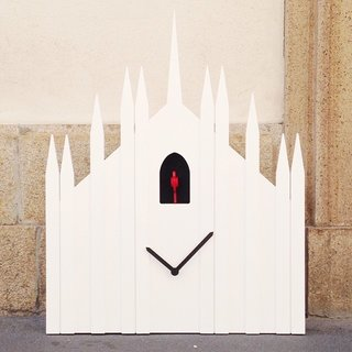 The Duomo Cuckoo Clock by Diamantini & Domeniconi, inspired by the Milan Cathedral, is on exhibit for Milan Design Week.