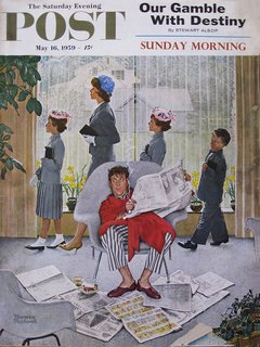 Norman Rockwell's Saturday Evening Post cover featuring the Womb chair. Image courtesy of Saturday Evening Post.