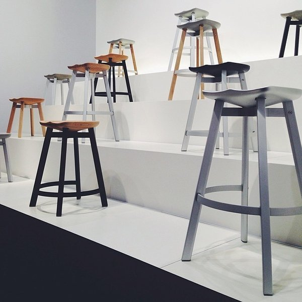 Nendo's Su stool range for Emeco, made of anodized aluminum, untreated wood, and concrete.