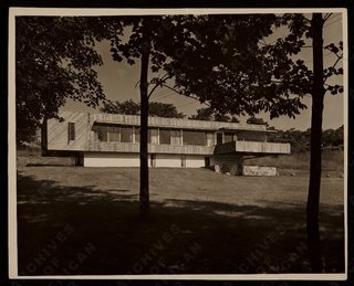 "Design Icon: 10 Buildings by Marcel Breuer - Photo 4 of 11 - Breuer House I (New Canaan, Connecticut, 1948) <br><br>During the post-war period, the Harvard Five architects turned a Connecticut suburb into a Modernist testing ground, presenting stylish visions of how the era's insatiable construction boom could look. This house was Breuer's first entry into the ""Canaan canon,"" and it struck quite the chord, literally pushing the boundaries of cantilevered construction. An Architectural Record article from the time gushed that ""the irresistible appeal of the cantilever is here developed to the ultimate degree. What Breuer has done, in effect, is to build a small basement story above ground, and then balance a full-size one-story house nearly atop it."" A difficult balancing act, to be sure, but the horizontal structure would show Breuer leaning out and pushing the boundaries. He'd later gain notoriety for a second New Canaan house, and a model he built for display in the gardens next to the Museum of Modern Art was one of the institution's most popular and influential architectural displays of the 20th century."