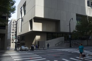 "Design Icon: 10 Buildings by Marcel Breuer - Photo 10 of 11 - Atlanta Central Library (Atlanta, 1980) <br><br>The last structure that Breuer designed (he was too ill to attend the dedication ceremony), the Atlanta Central Library was an evolution of the style and shapes used for the Whitney, a sculptural structure of cubes right angles. The airy shapes, combined with the heavy massing of concrete, led Barry Bergdoll, the chief curator of architecture at the Museum of Modern Art, to refer to this type of construction as ""the invention of heavy lightness.""<br><br>Photo Credit: Alexsandr Zykov, Creative Commons"