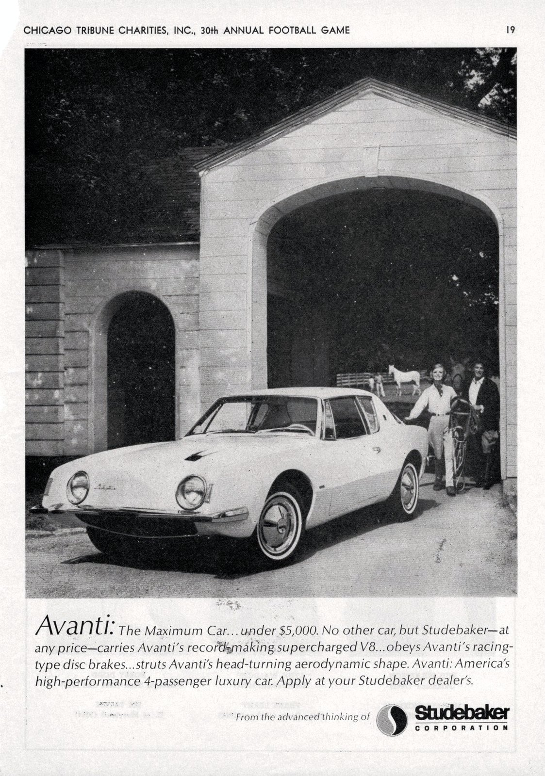Studebaker Avanti (1963)  Italian for forward, the Avanti was created by Loewy and a team of designers during a 40-day crash course at the behest of Studebaker President Sherwood Egbert. Sporting a sleek look during a period of automotive overindulgence, the Avanti also boasted numerous safety features ahead of its time.  Photo Credit: Alden Jewell, Creative Commons