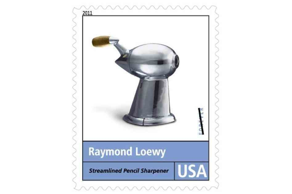 Pencil Sharpener (1933)  Looking like a ray gun from an early sci-fi serial, Loewy's prototype pencil sharpener has been an icon for decades, memorialized (as depicted in the stamp above) as a teardrop-shaped catalyst for streamlined industrial design.