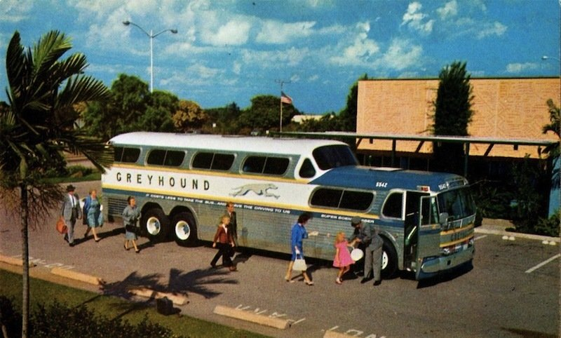 Greyhound Scenicruiser (1954)  A midcentury highway icon, Loewy's domed bus design gave thousands a more picturesque view of roadside America during a golden age of motorcoach travel.   Photo Credit: Alden Jewell, Creative Commons