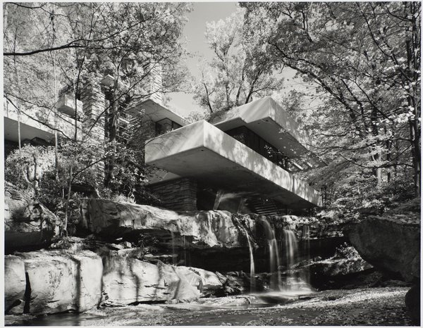 Fallingwater, Mill Run, Pennsylvania, designed by Frank Lloyd Wright, 1963. Gelatin silver print. Carnegie Museum of Art, Purchase: gift of the Drue Heinz Trust. Image courtesy of the Carnegie Museum of Art, copyright Ezra Stoller/Esto, Yossi Milo Gallery.