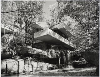 Modernism Through the Viewfinder: The Photography of Ezra Stoller - Photo 4 of 10 - Fallingwater, Mill Run, Pennsylvania, designed by Frank Lloyd Wright, 1963. Gelatin silver print. Carnegie Museum of Art, Purchase: gift of the Drue Heinz Trust. Image courtesy of the Carnegie Museum of Art, copyright Ezra Stoller/Esto, Yossi Milo Gallery.
