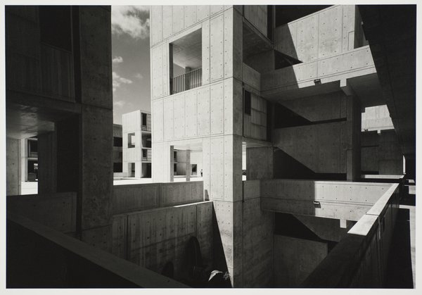 Salk Institute for Biological Studies, designed by Louis I. Kahn, photographed in 1977. Gelatin silver print. Carnegie Museum of Art, Purchase: gift of the Drue Heinz Trust. Image courtesy of the Carnegie Museum of Art, copyright Ezra Stoller/Esto, Yossi Milo Gallery.