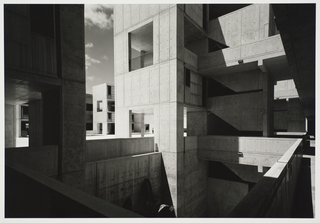 Modernism Through the Viewfinder: The Photography of Ezra Stoller - Photo 5 of 10 - Salk Institute for Biological Studies, designed by Louis I. Kahn, photographed in 1977. Gelatin silver print. Carnegie Museum of Art, Purchase: gift of the Drue Heinz Trust. Image courtesy of the Carnegie Museum of Art, copyright Ezra Stoller/Esto, Yossi Milo Gallery.