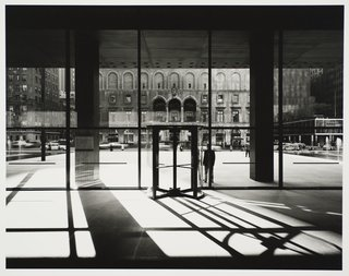 Modernism Through the Viewfinder: The Photography of Ezra Stoller - Photo 6 of 10 - Seagram Building, designed by Ludwig Mies van der Rohe and Philip Johnson, photographed 1958. Gelatin silver print. Carnegie Museum of Art, Purchase: gift of the Drue Heinz Trust. Image courtesy of the Carnegie Museum of Art, copyright Ezra Stoller/Esto, Yossi Milo Gallery.