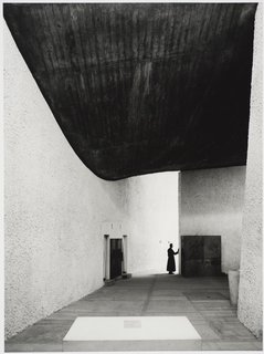 Modernism Through the Viewfinder: The Photography of Ezra Stoller - Photo 7 of 10 - The chapel of Notre Dame du Haut in Ronchamp, France, designed by Le Corbusier and photographed in 1955. Gelatin silver print. Carnegie Museum of Art, Purchase: gift of the Drue Heinz Trust. Image courtesy of the Carnegie Museum of Art, copyright Ezra Stoller/Esto, Yossi Milo Gallery.