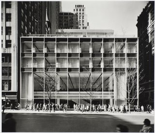 Modernism Through the Viewfinder: The Photography of Ezra Stoller - Photo 9 of 10 - Manufacturers Trust Co. building, Manhattan, designed by Gordon Bunshaft of Skidmore, Owings, and Merrill, photographed in 1954. Gelatin silver print. Carnegie Museum of Art, Purchase: gift of the Drue Heinz Trust. Image courtesy of the Carnegie Museum of Art, copyright Ezra Stoller/Esto, Yossi Milo Gallery.